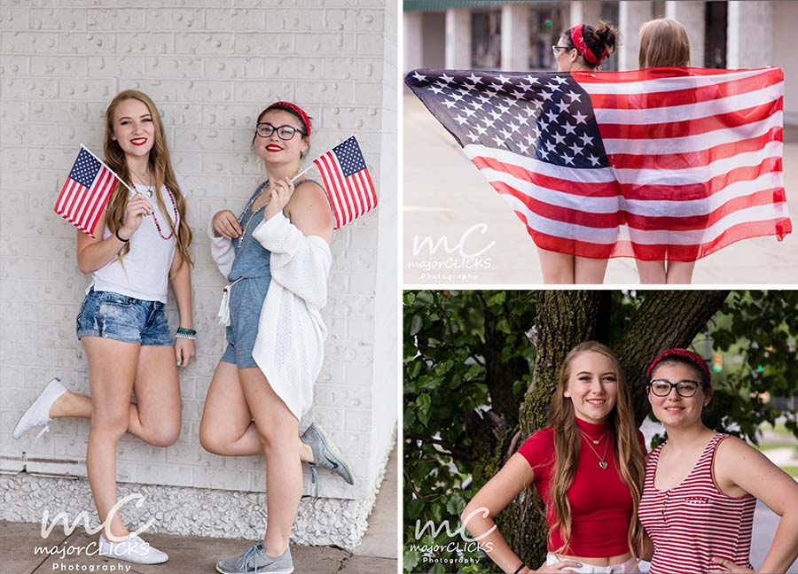 Red, White and blue session with 2 high school senior girls