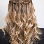 Blond waterfall braid