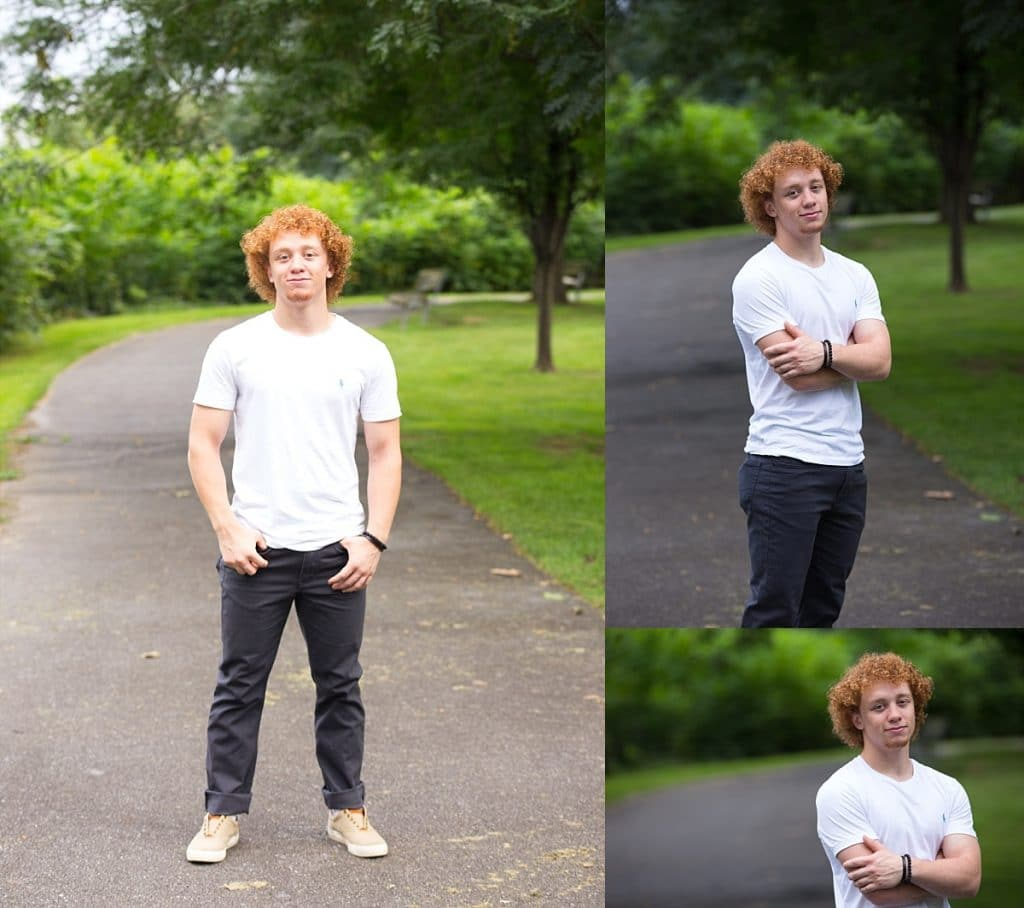 Senior guy with curly red hair in white t-shirt and jeans