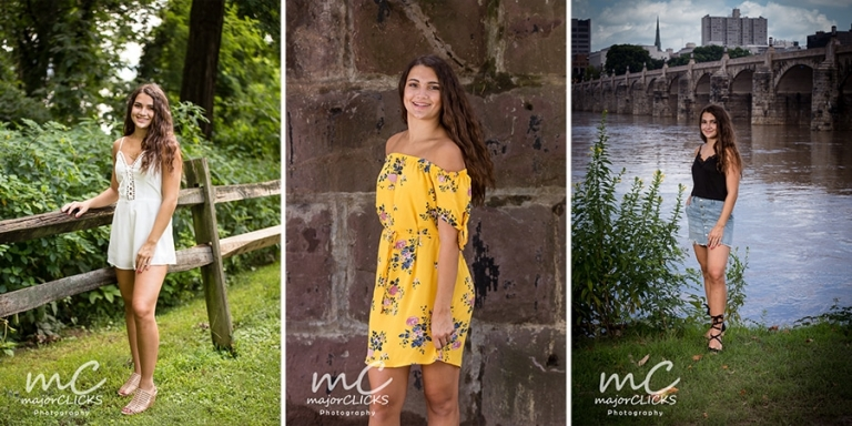 3 pictures of a high school senior's photo shoot in a white romper, yellow off the shoulder dress and jean skirt and black tank top