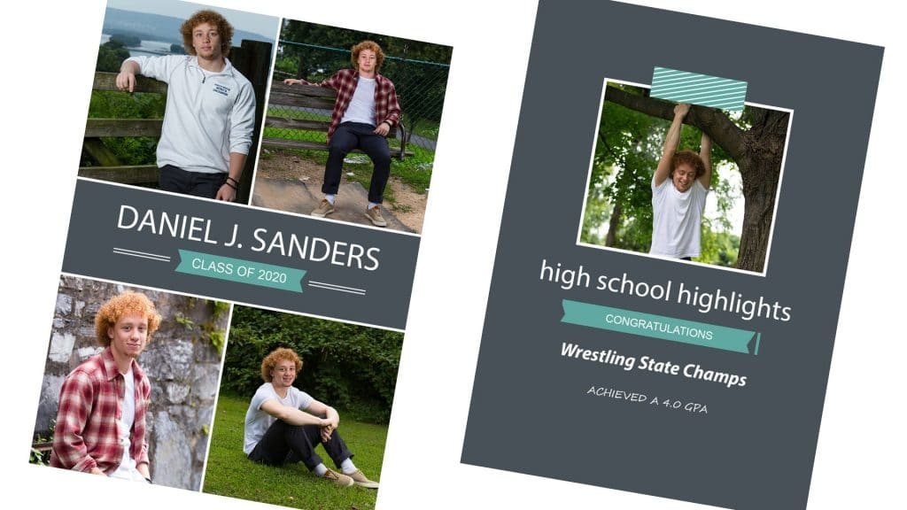 High school senior grad cards of a senior boy