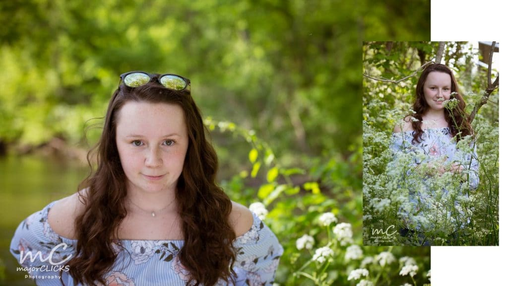 Brunette girl in light blue cold shoulder top in a field of white flowers