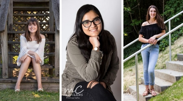 Three high school seniors in different outfits for their senior photos