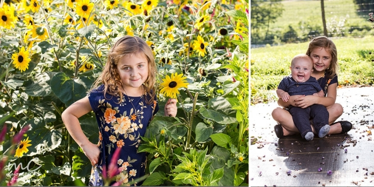 Family pictures in the flowers with 2 kids